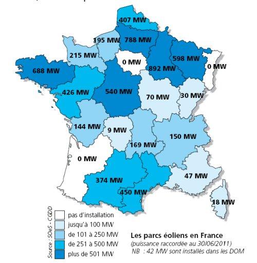 Carte de la production éolienne française en 2010 - twi-terre.net
