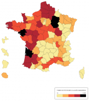 Carte des ventes de pesticides en France - 2016